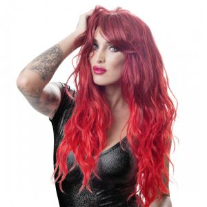 RED WAVY LONG WIG