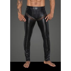 NOIR HANDMADE POWERWETLOOK LONG PANTS WITH INSERTS AND POCKETS MADE OF 3D NET