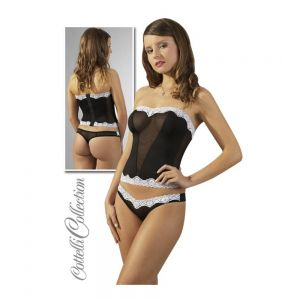BLACK STRAPLESS SET WITH WHITE LACE M