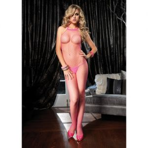 FISHNET HALTER BODYSTOCKING PINK