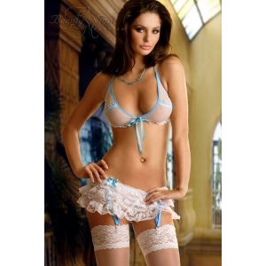 BRA,GARTER BELT & THONG CHELSEA WHITE/BLUE