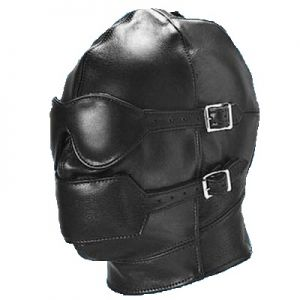 LEATHER LACE BACK HOOD WITH DETACHABLE BLINDFOLD & GAG