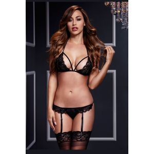 BLACK LACY BRA GARTER/OPEN CROTCH PANTY