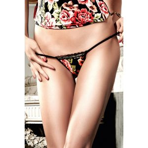 FLORAL MICROFIBER AND LACE G-STRING