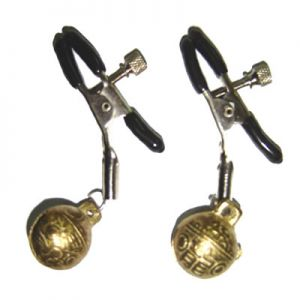 NIPPLE CLAMPS WITH ANCIENT BRASS BELL