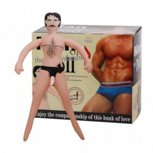 INFLATABLE MALE DOLL WITH STRAP-ON DILDO FLESH