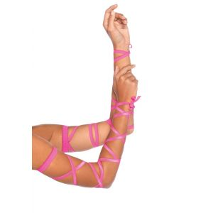 ELASTIC RIBBON ARM WRAPS NEON PINK