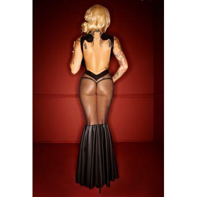 NOIR HANDMADE WETLOOK DRESS WITH TULL APPLICATIONS MERMAID STYLE