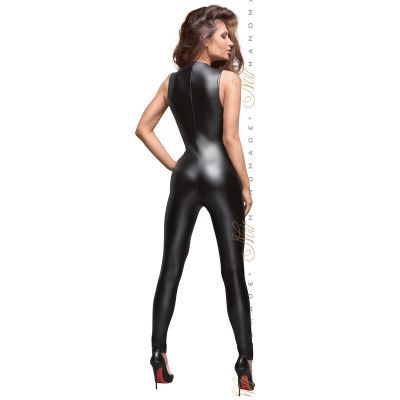 NOIR HANDMADE POWERWETLOOK JUMPSUIT WITH LACE