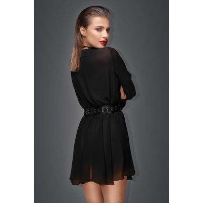 NOIR HANDMADE CHIFFON MINIDRESS WITH ECO-LEATHER BELT AND CHOKER