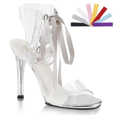 FABULICIOUS HIGH HEELS LACE UP SANDAL TRANSPARENT WITH 8 LACES
