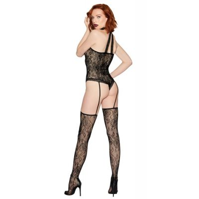 DREAMGIRL BLACK COLLARED ONE PIECE THONG TEDDY