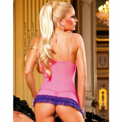 PINK CHEMISE WITH PURPLE RUFFLE