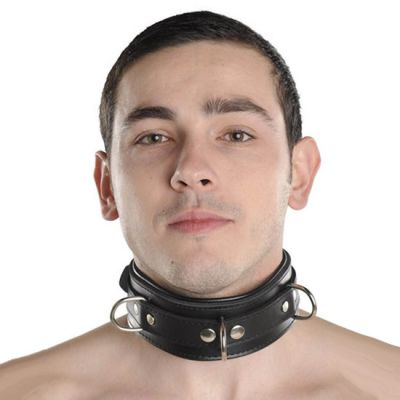 UNISEX PADDED BLACK LEATHER COLLAR WITH CHAIN