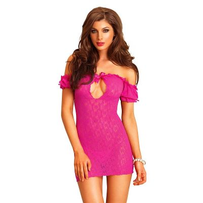 OFF THE SHOULDER LACE CHEMISE PINK