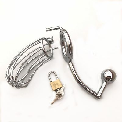 MALE METAL BIRD CAGE CHASTITY DEVICE WITH HOOK