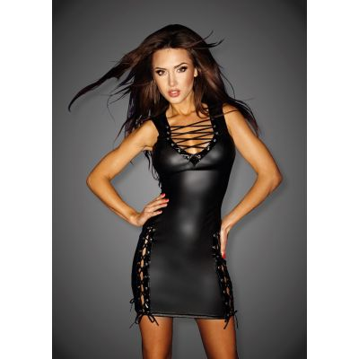 NOIR HANDMADE WETLOOK DRESS WITH LACING